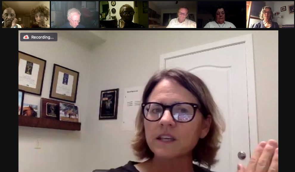 Image of Director Frances Causey during a Zoom Q&A